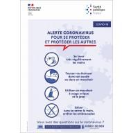 Panneau PVC ou sticker Coronavirus Covid 19 - Santé publique - Format portrait