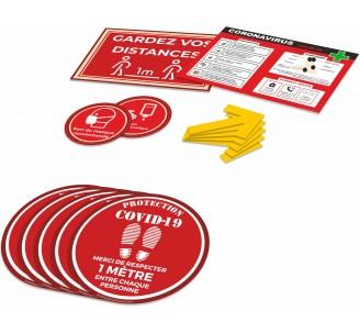 Kit COVID-19 avec bandes au sol, flèches, et autocollants de préventions