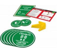 Kit COVID-19 avec autocollants rond au sol, flèches, et autocollants de préventions