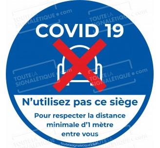 Autocollant covid-19 - Siège interdit