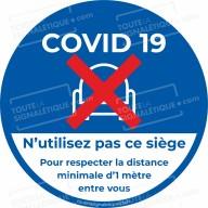 Autocollant coronavirus Covid 19 - Siège interdit