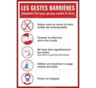 Panneau PVC ou sticker Coronavirus Covid 19 - Gestes barrières