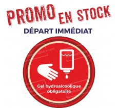 Sticker Gel hydroalcoolique obligatoire - Covid-19 - Rouge