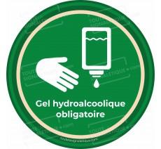 Panneau Gel hydroalcoolique obligatoire - Covid-19 - Vert