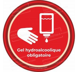 Panneau Gel hydroalcoolique obligatoire - Covid-19 - Rouge