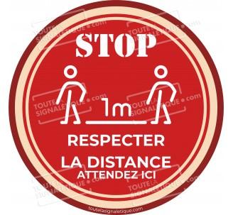 Rond au sol STOP , RESPECTER LA DISTANCE
