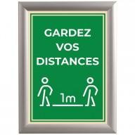 """Cadre clic clac en alu avec affiche """" Gardez vos distances """" - Covid-19"""