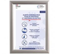 Cadre clic clac en alu avec affiche de la santé publique - Covid-19