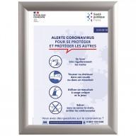 Cadre clic clac en alu avec affiche de la santé publique - Covid-19 (format portrait)