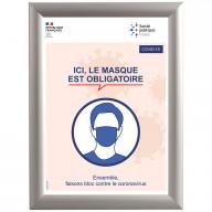 Cadre clic clac en alu avec affiche officielle - Port du masque obligatoire