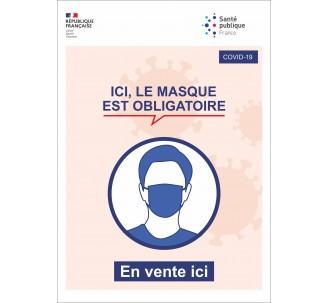 Panneau PVC ou sticker - Port du masque obligatoire - Officielle