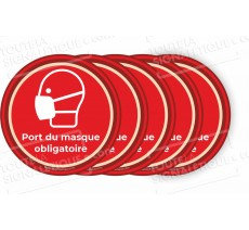 Lot de 5 ou 10 autocollants PORT DU MASQUE OBLIGATOIRE