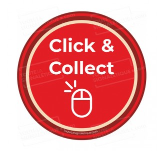 "Autocollant ""CLICK AND COLLECT"" à coller sur votre vitrine - COVID 19"