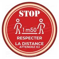 Autocollant pour le sol : STOP , RESPECTER LA DISTANCE - 1m50 - COVID 19