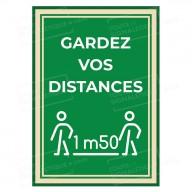 """Panneau ou Autocollant """" Gardez vos distances """" 1m50 - Covid-19"""