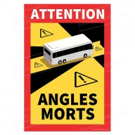 Autocollant Attention Angles morts pour bus, cars et autocars