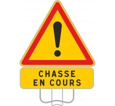 """Panneau Attention """"Chasse en cours"""""""