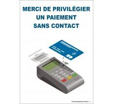 Panneau PVC ou sticker -Coronavirus Covid19-Merci de privilégier un paiement sans contact- Format portrait