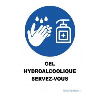 gel hydroalcoolique servez-vous - panneau PVC ou sticker -