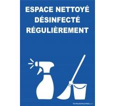 Espace nettoyé désinfecté régulièrement