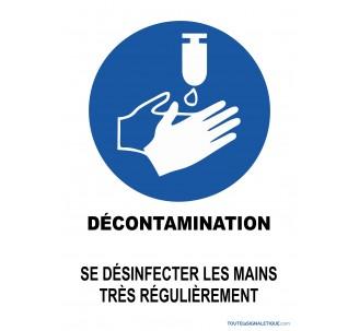 Panneau décontamination se laver les mains régulièrement