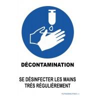 Panneau Décontamination - Désinfection des mains