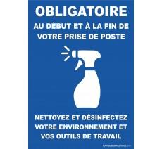 Panneau obligatoire desinfection