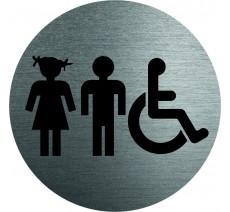 Plaque porte alu ou pvc picto rond Toilettes mixtes, handicapés enfants