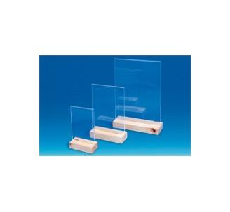 Porte-visuel en acrylique sur socle en bois