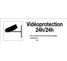 Panneau PVC rigide dim: H 120 x L 330 mm Vidéoprotection 24h/24