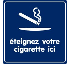 Pictogramme plexi couleur éteignez votre cigarette ici