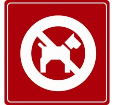 Pictogramme plexi couleur interdit aux chiens