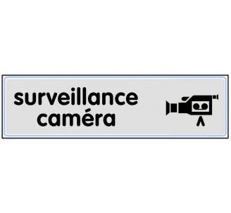Plaque de porte plexi classique argent surveillance caméra