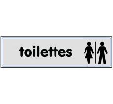 """Plaque de porte """"Toilettes H/F"""" classique argent"""