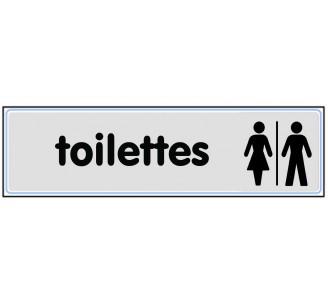 Plaque de porte plexi classique argent toilettes mixte