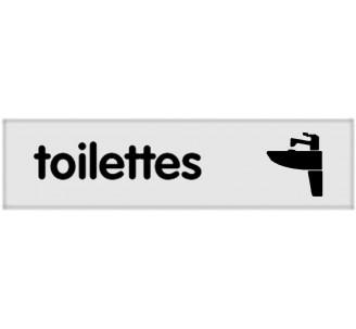 Plaque de porte plexi classique argent toilettes lavabo