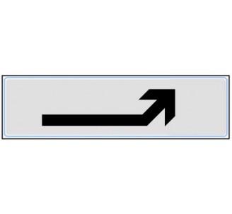 Plaque de porte plexi classique argent flèche en haut droite