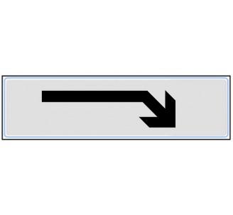 Plaque de porte plexi classique argent flèche en bas droite