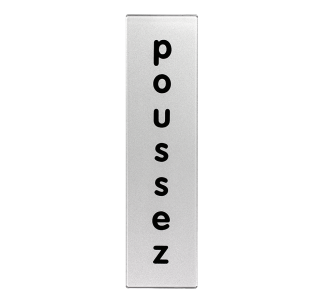 Plaque de porte plexi classique argent poussez vertical