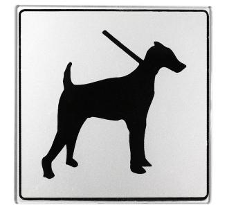 Pictogramme plexi classique argent chien admis