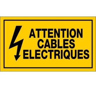 Panneau PVC rigide dim: H 200 x L 330 mm attention câbles électriques
