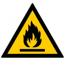 Panneau PVC rigide forme triangulaire de 300mm de côté danger matières inflammables