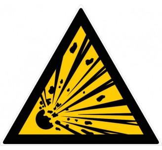 Panneau PVC rigide forme triangulaire de 300mm de côté danger matières explosives