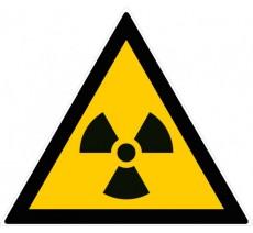 Panneau PVC rigide forme triangulaire de 300mm de côté danger matières radioactives