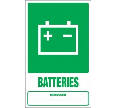 Panneau PVC rigide dim: H 330x L 200 mm tri sélectif batteries