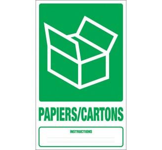 Panneau PVC rigide dim: H 330x L 200 mm tri sélectif papiers/cartons