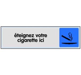 Plaque de porte plexi couleur Eteignez votre cigarette ici