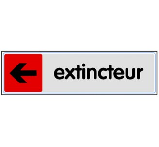 Plaque de porte plexi couleur Extincteur flèche gauche