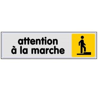 Plaque de porte plexi couleur Attention à la marche