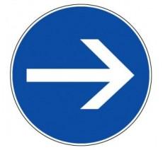 Panneau PVC rigide   sens obligatoire droite ou gauche